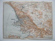 stampa antica MAPPA TRIESTE DINTORNI OPCINA LIPIZZA MUGGIA PROSECCO ORLEG 1920