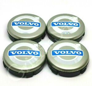4x Volvo Alloy Wheel Centre Hub Caps 64mm Grey & Blue C30 C70 S40 V50 S60 V70
