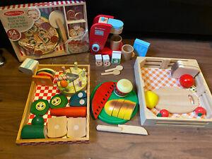 Melissa & Doug Food Bundle Wooden Include Pizza Coffee Machine Veg Cake Burgers