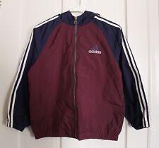 ADIDAS Blue/Burgundy Light Jacket Windbreaker! Mesh Interior, Youth Sz M!