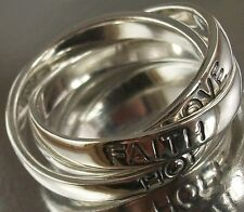 Sterling Silver 925 triple interlocking FAITH HOPE LOVE Ring US Size 10 oxidised
