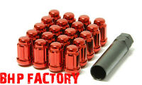 MUTEKI M12 x 1.25 CLOSED SPLINED RED TUNER WHEEL NUTS PACK OF 20 + KEY Z1279