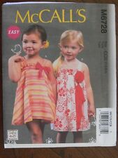 McCall's Pattern 6728 Toddlers' Lined Dresses children's outfits clothes