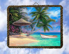 Tropical Beach Ocean 39 Boat Wall Decor Wood Sgns Prints Palm lalarry Ventage