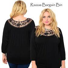 New Ladies Black Lace Neck Top Plus Size 14 1XL (9846)ME