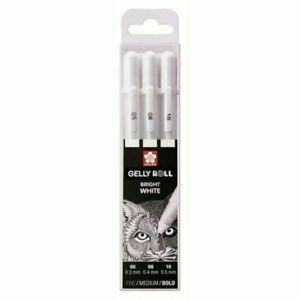 Sakura Gelly Roll Drawing & Writing Pen Set of 3 Sizes BRIGHT WHITE