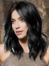 HELLOJF1481 fashion short mid black wavy  hair curly health Wig wigs women