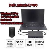 Dell Latitude 7490 i7 8650U 32GB DDR4 1TB SSD Win10 Pro Ultra Book Laptop Dock