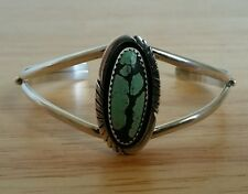 Vintage Sterling Silver Cuff Bracelet with Turquoise w/ Black Matrix