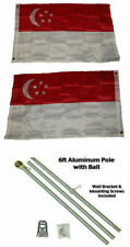 2x3 2'x3' Singapore 2ply Flag Aluminum Pole Kit Ball Top