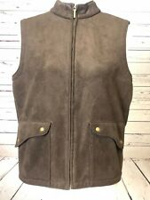 Talbots Women's PS Petites Full Zip  Small  Sleeveless Faux Suede Vest Brown