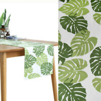 Green Palm Leaves Cotton Fabric Curtain Upholstery Tropical Leaf Wide Cloth Soft