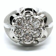 14k White Gold Diamond Man's Ring. Tdwt. 1.05 ct. April Birthstone