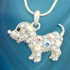 """New Pendant Necklace Jewelry 18"""" Chain w Swarovski Crystal Dog Puppy Pet Dogie"""