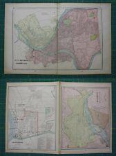 Pittsburg Richmond Parkersburg Vintage Original 1899 Cram's World Atlas Map Lot