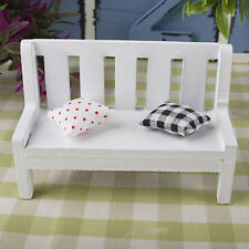 1:12 Mini Wooden Bench Dolls House Miniature Garden Furniture Accessories White