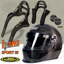 FULL Face CARBON Helmet RACELID & HANS DEVICE Sport III Package SA2015 Approved