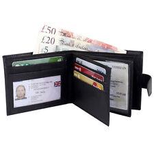 Mens Black Genuine Leather High Quality Leather Wallet RFID Safe Card Holder 335