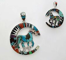 HORSE/HALF MOON HANDMADE PENDANT IN TURQUOISE/MULTI COLOR INLAY.925 SILVER