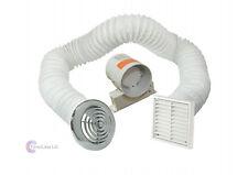 """4 """"Inline ESTRATTORE VENTOLA TIMER COMPLETO Kit di ventilazione per Bagno Doccia Cromato"""