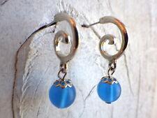 Spirale - Ohrstecker hellblau silbefarben orientalisch schlicht funkelnd Beach