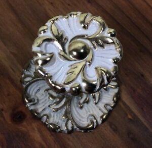 Vtg Ornate White Gold Drawer Pull Knob Hardware N614 RDCA 1960