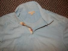 Men's Authentic Burberry Brit S/S Polo Light Blue Slim Fit Shirt Sz Large