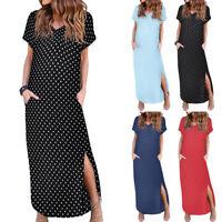 Women Summer Boho Short Sleeve V-neck Polka Dot Printed Long Maxi Beach Dress UK