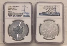 Lot Of 2x NGC MS-69 2016 Maple Leaf & 2015 Philharmonic First Release Silver 1oz
