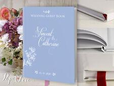 Boda Libro de visitas personalizado Personalizado Diseño Azul Blanco Flores Varios Colores