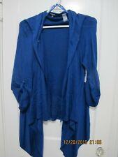 Chaus XL Plus Light Knit Sweater  Draped Open Front Cardigan Blue