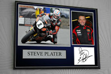 """Steve Plater Motor Cycle Framed Canvas Signed """"Great Gift"""""""