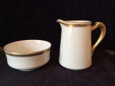 Antiguo croata Pouyat Limoges Atena de Oro griego clave gran jarra de leche y azucarero