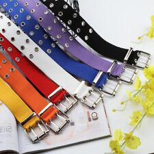 Women Canvas Double Grommet Holes Belt 2-Row Studded Belt Band Metal Buckle