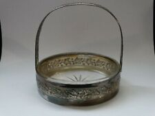VINTAGE SILVER PLATED BASKET BONBONIER CANDY Glass-Holder very rare