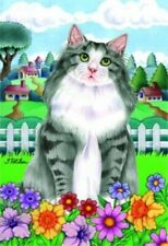 New listing Spring House Flag - Grey Norwegian Forest Cat 76005