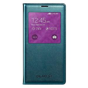 Samsung S-View Flip Cover For Galaxy S5 Green ID Chip Case Folio Front Window