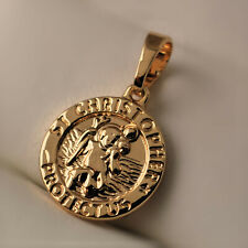 Small 18ct Gold Filled St Christopher Protect Us Christian Religious Pendant -P8