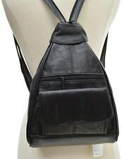 SLING LEATHER BACKPACK PURSE BLACK HANDBAG WOMENS SHOULDER BAG GENUINE ORGANIZER