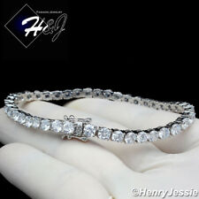 "Iced 1 Row Tennis Chain Bracelet*Bsb2 7""Men Women 14K White Gold Finish 4Mm"