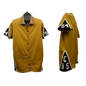 1940s Durene Jersey Shirt / 40s Gold Button Up Athletic Jersey Shirt S/M