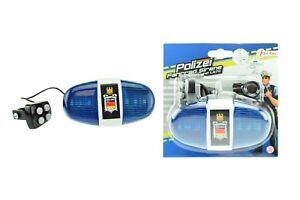 Police Polizei Sirene - Fahrradsirene mit 6 LED Blinklicht und 4 Tönen Blaulicht