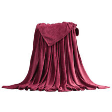 Bedding Blanket Soft Warm Coral Fleece Throw Solid Color Night Sleeping Quilts