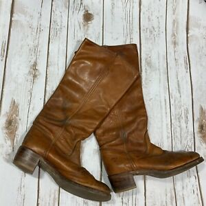 Woman's Frye Size 8 Cognac Leather Tall Stacked Knee Boot Brown
