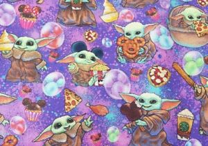 Custom Cotton Woven Purple Baby Yoda Disney Snacks by the 1/4 Yard SHIPS FAST!