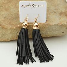 Long Black Leather Double Tassel Earrings w/ Gold Cuffs & Fish Hook Closure Boho