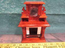 Doll House Fireplace mantel furniture wooden Fixture mirror shelf