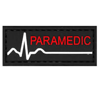 Paramedic Red White Black PVC Morale Patch 3D Tactical Badge Hook #59