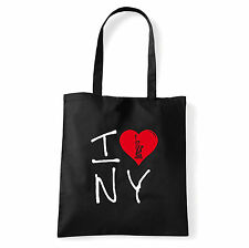 Art T-shirt, Borsa shoulder I Love NY, Nera, Shopper, Mare