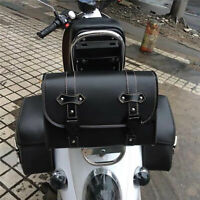 Motorcycle Sissy Bar Bag Font Side Tail Luggage Tool Carry Bag Deluxe PU Leather